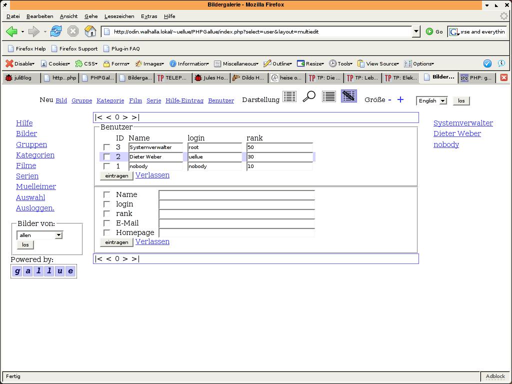 Benutzerverwaltung - Multiedit